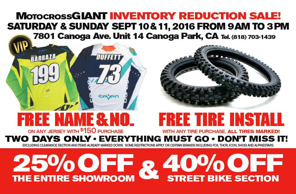 MX Giant Inventory Sale - Sept 10-11 2016